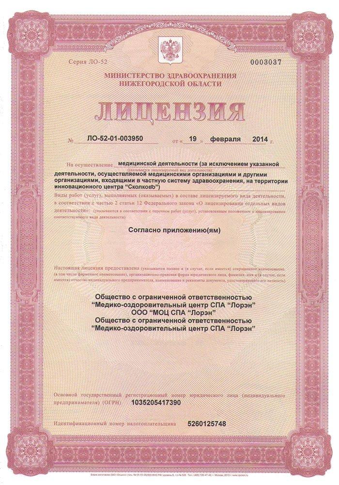 форма лицензии на медицинскую деятельность